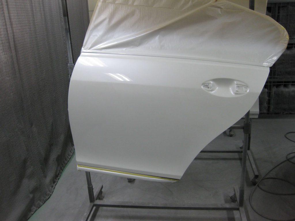 レクサスGS350、左リアドアクリアー塗装